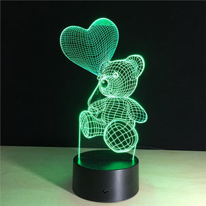 3D Teddy Bear Lamp with Changing Light Effects