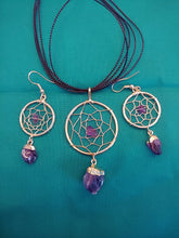 Dream Catcher Amethyst Necklace Earring Set 14k Gold Plated - Spiritual Magic Journey