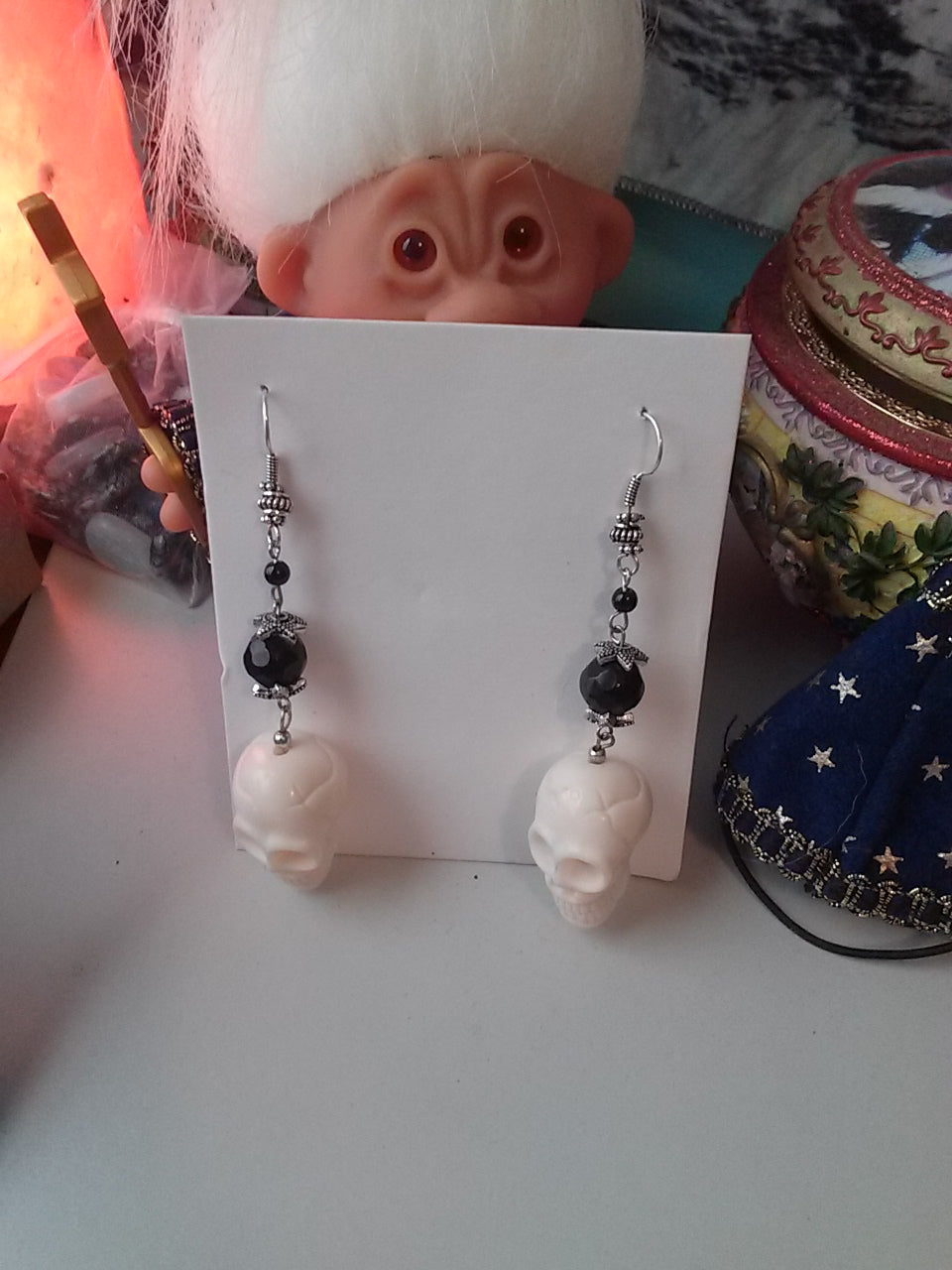 Handmade Skull Dangle Earrings - Spiritual Magic Journey