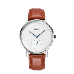 A.B.ART Montre One, bracelet cuir marron, cadran blanc