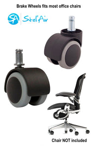 COMPRESSION BRAKE WHEELS -  Stop your office chair from rolling while seated.  Perfect addition when pedaling at your desk.