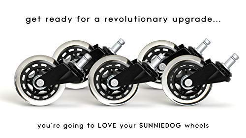 SunnieDog Office Chair Caster Wheels (Set of 5) Rollerblade Style w/Universal Fit - Black - SunnieDog