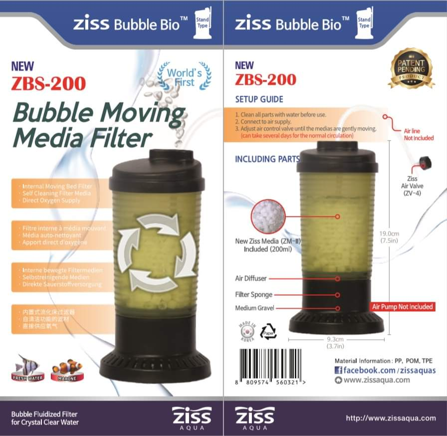 ZISS Bubble Moving Media Filter ZBS-200