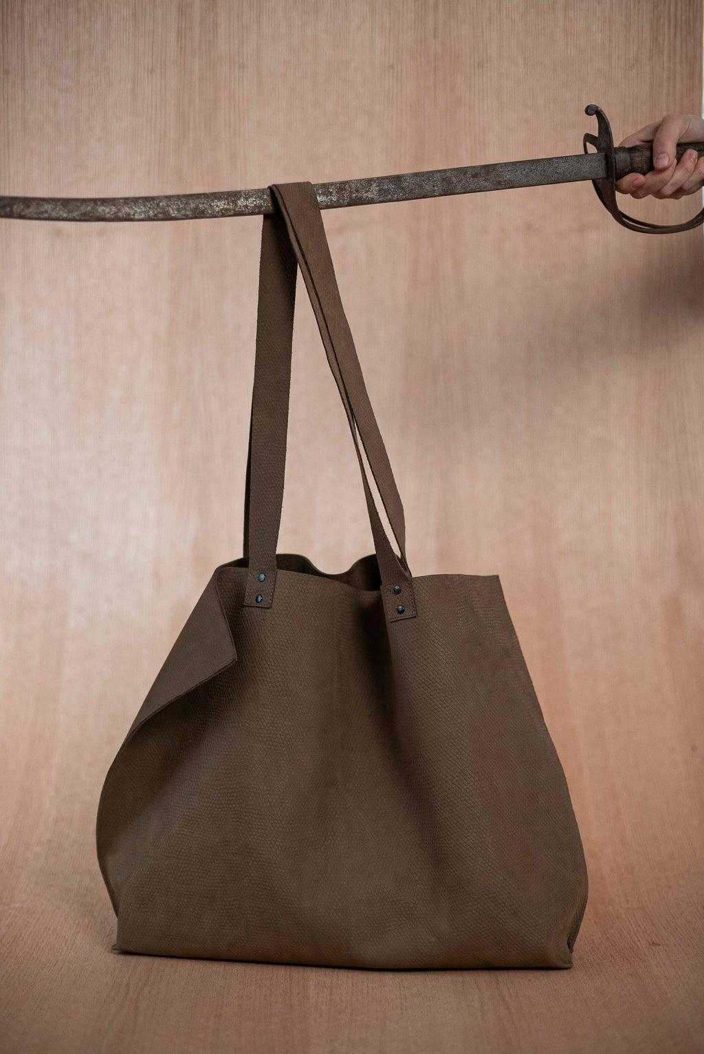 Extra large brown leather viper bag - TOCO MADERA - Handcraft shoe from Mexico - Handmade shoe