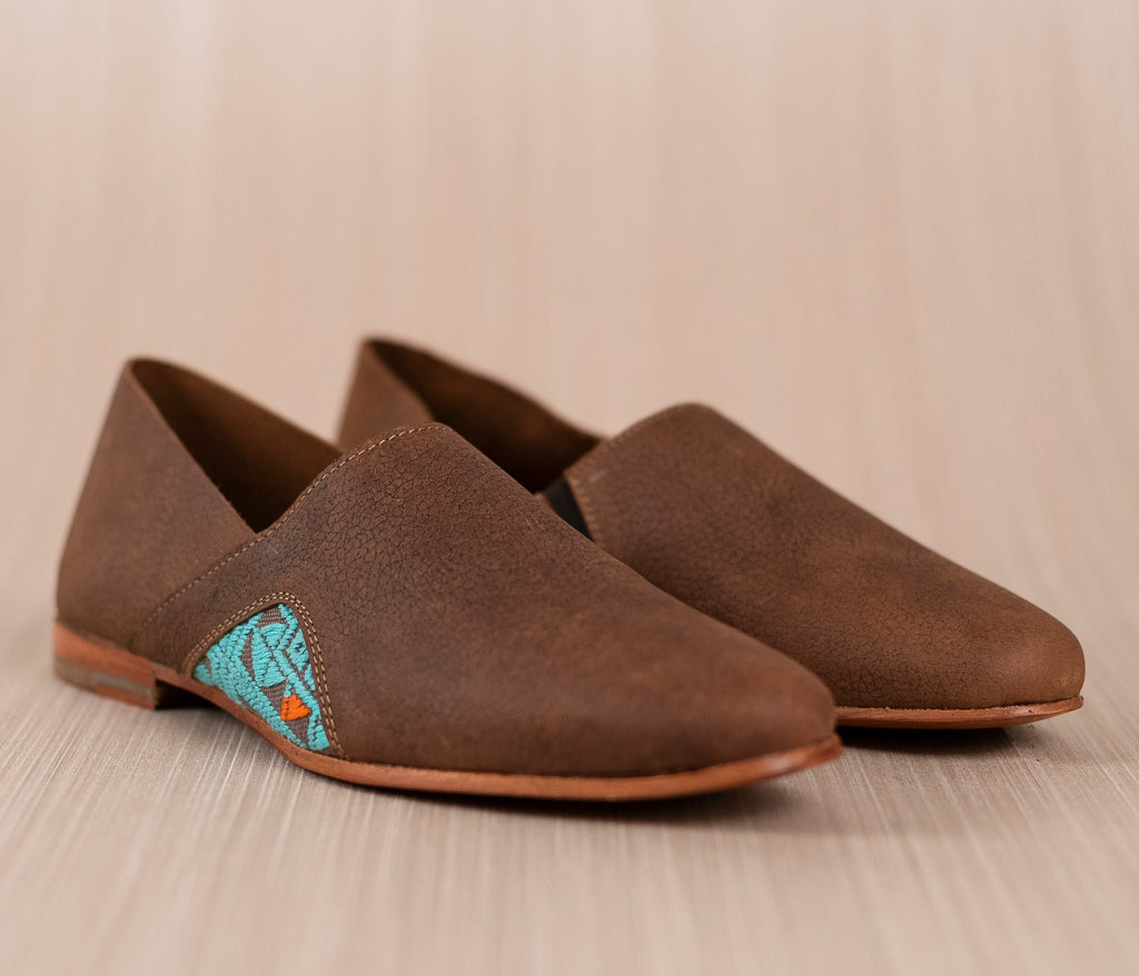 Brown leather men's slippers with gray and turquoise textile - TOCO MADERA - Handcraft shoe from Mexico - Artisan shoe