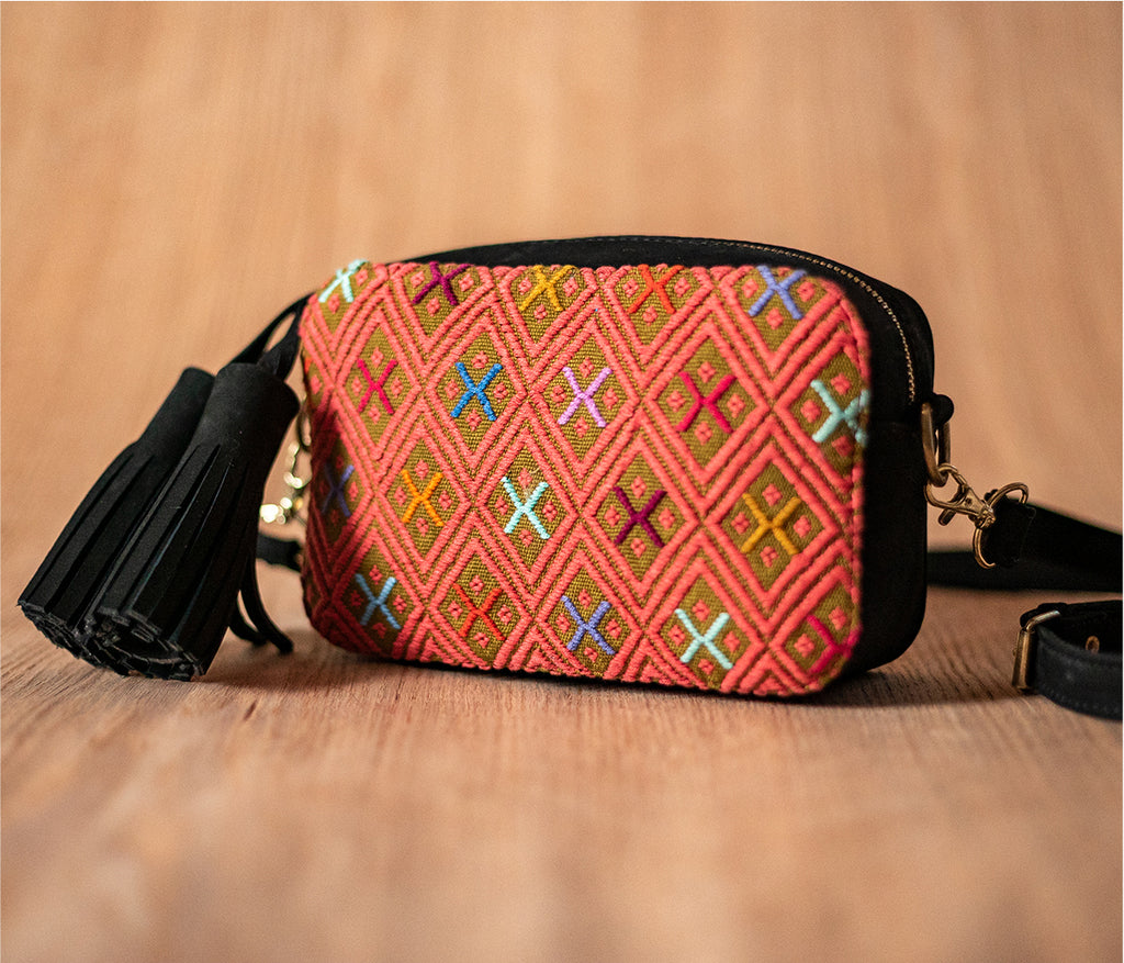 Black leather crossbody bag with green and pink textile - TOCO MADERA - Handcraft shoe from Mexico - Handmade shoe