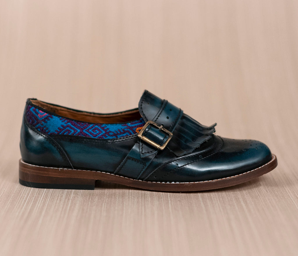 CHIQUEADOS / blue leather and Blue textile with Purple - TOCO MADERA - Handcraft shoe from Mexico - Handmade shoe