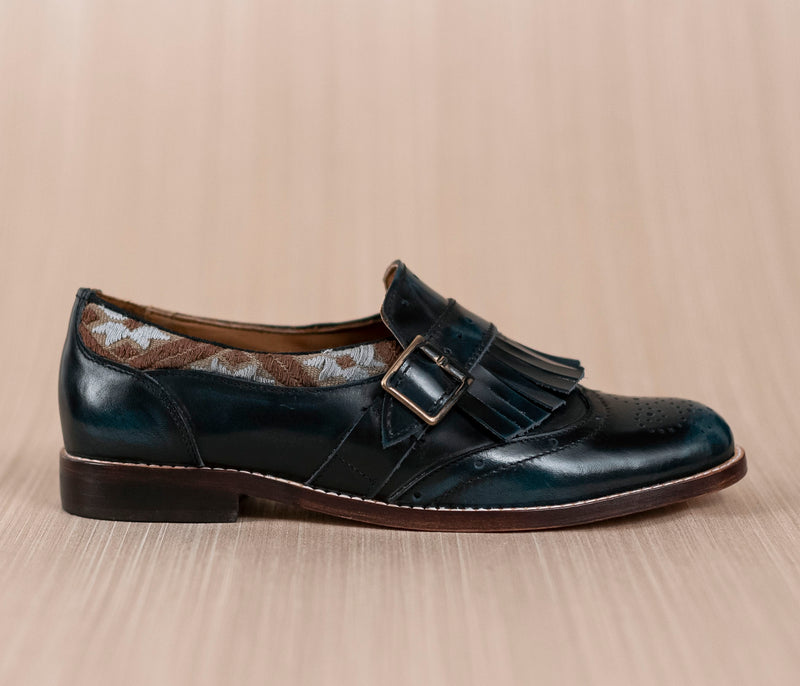 CHIQUEADOS / blue leather and brown textile with gray - TOCO MADERA - Handcraft shoe from Mexico - Handmade shoe