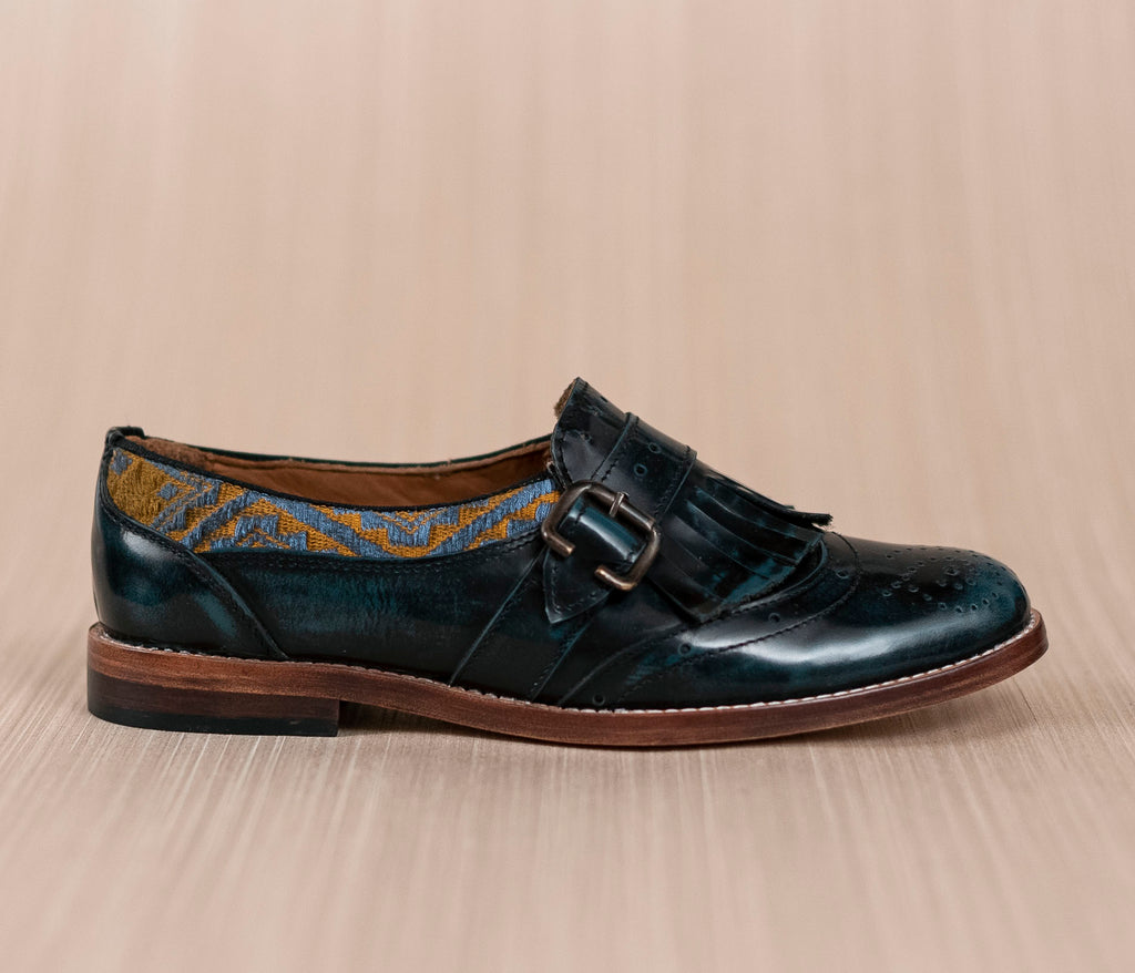 CHIQUEADOS / blue leather and gold textile with gray - TOCO MADERA - Handcraft shoe from Mexico - Handmade shoe