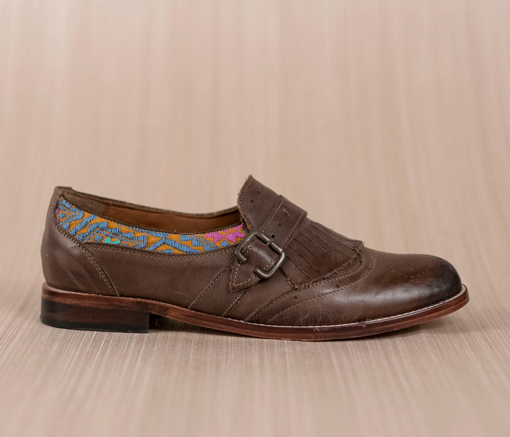 CHIQUEADOS / Brown leather and textile Gray with Gold - TOCO MADERA - Handcraft shoe from Mexico - Handmade shoe