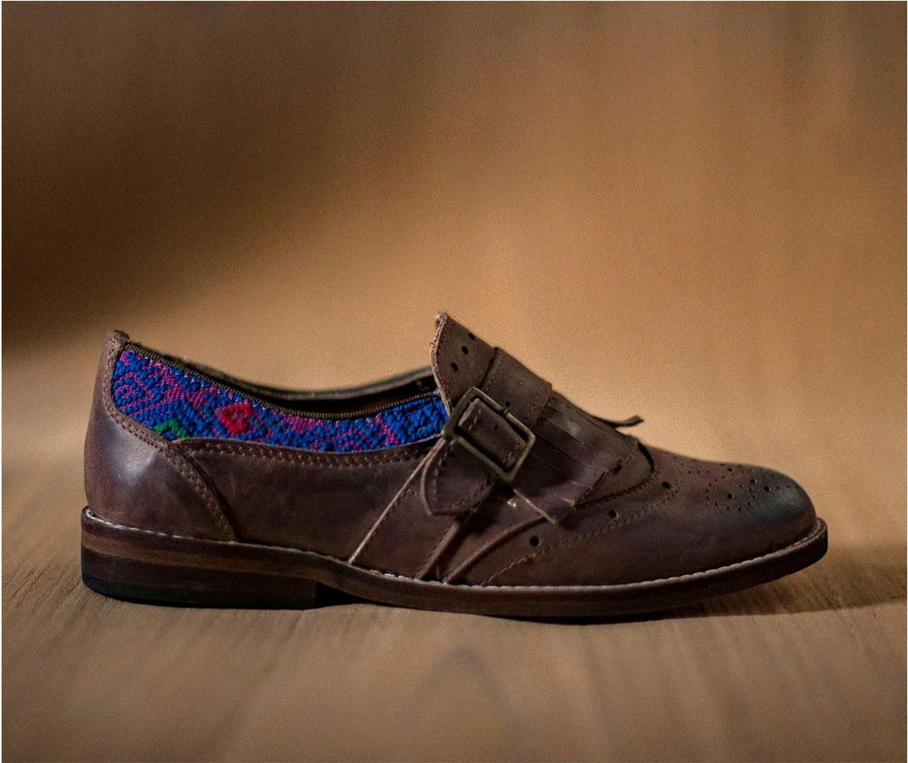 CHIQUEADOS / brown leather and purple textile with blue - TOCO MADERA - Handcraft shoe from Mexico - Handmade shoe