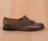 CHIQUEADOS / brown leather and black textile with yellow - TOCO MADERA - Handcraft shoe from Mexico - Handmade shoe
