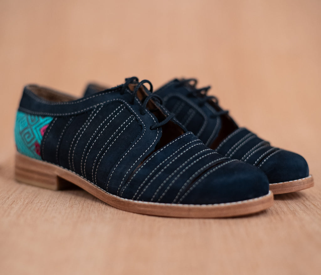 Leather chachareros Blue with Gray textile with Turquoise - TOCO MADERA - Handcraft shoe from Mexico - Handmade shoe