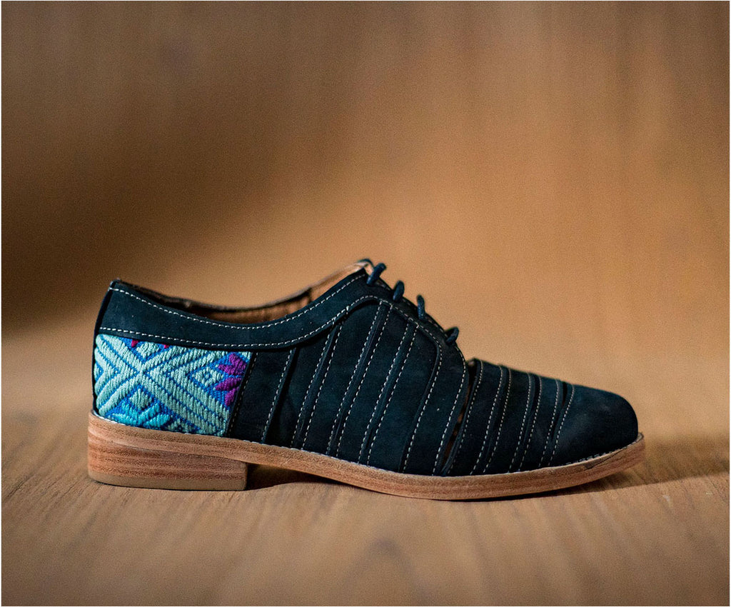 Blue leather chachareros with Blue and Blue textile - TOCO MADERA - Handcraft shoe from Mexico - Handmade shoe