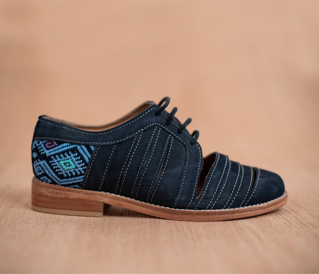 Leather chachareros blue with navy blue and sky textile - TOCO MADERA - Handcraft shoe from Mexico - Handmade shoe