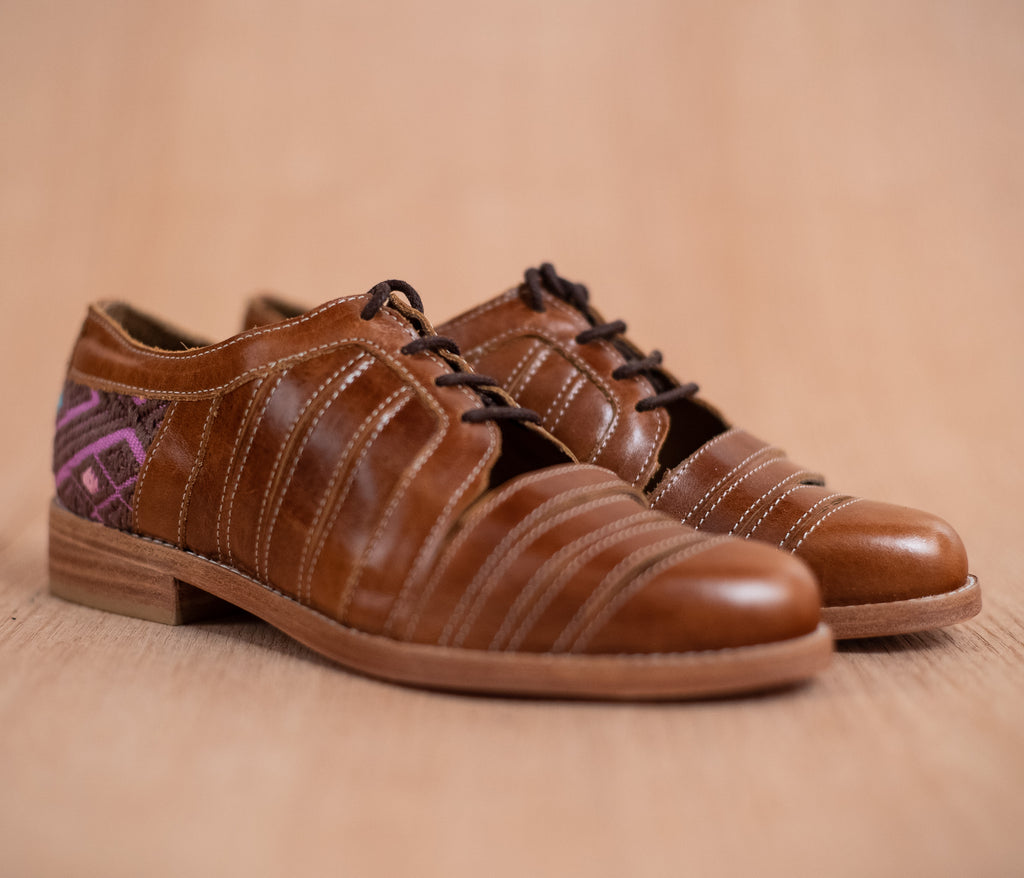 Chachareros in brown leather with purple and brown textile - TOCO MADERA - Handcraft shoe from Mexico - Handmade shoe
