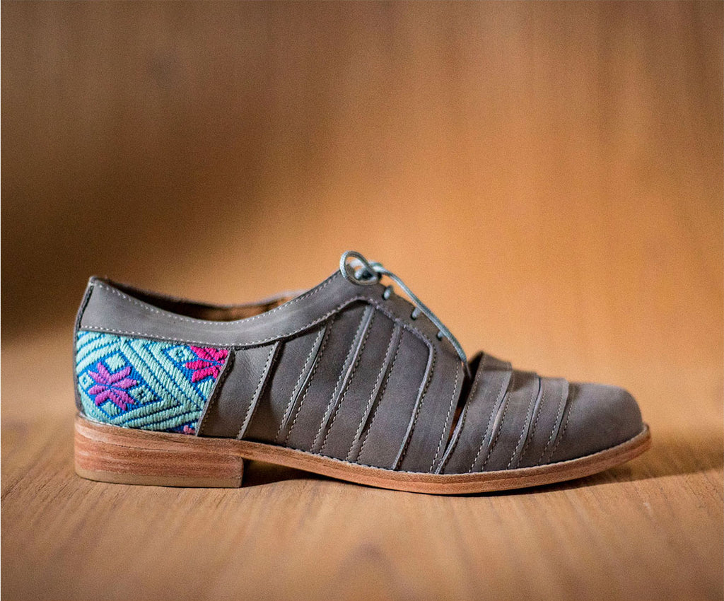 Leather chachareros gray with Blue and Blue textile - TOCO MADERA - Handcraft shoe from Mexico - Handmade shoe