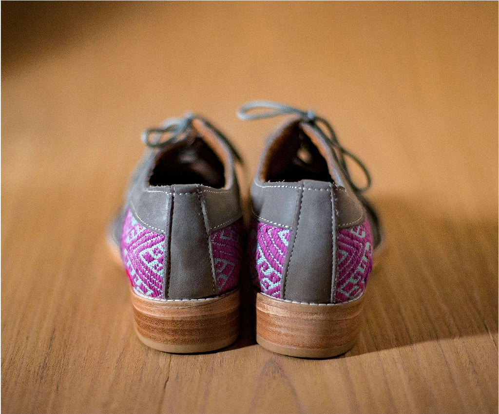 Gray leather chachareros with light blue and purple textile - TOCO MADERA - Handcraft shoe from Mexico - Handmade shoe
