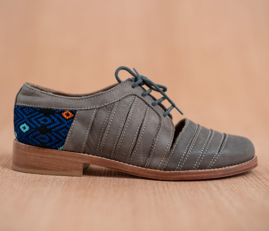 Leather chachareros gray with blue and black textile - TOCO MADERA - Handcraft shoe from Mexico - Handmade shoe