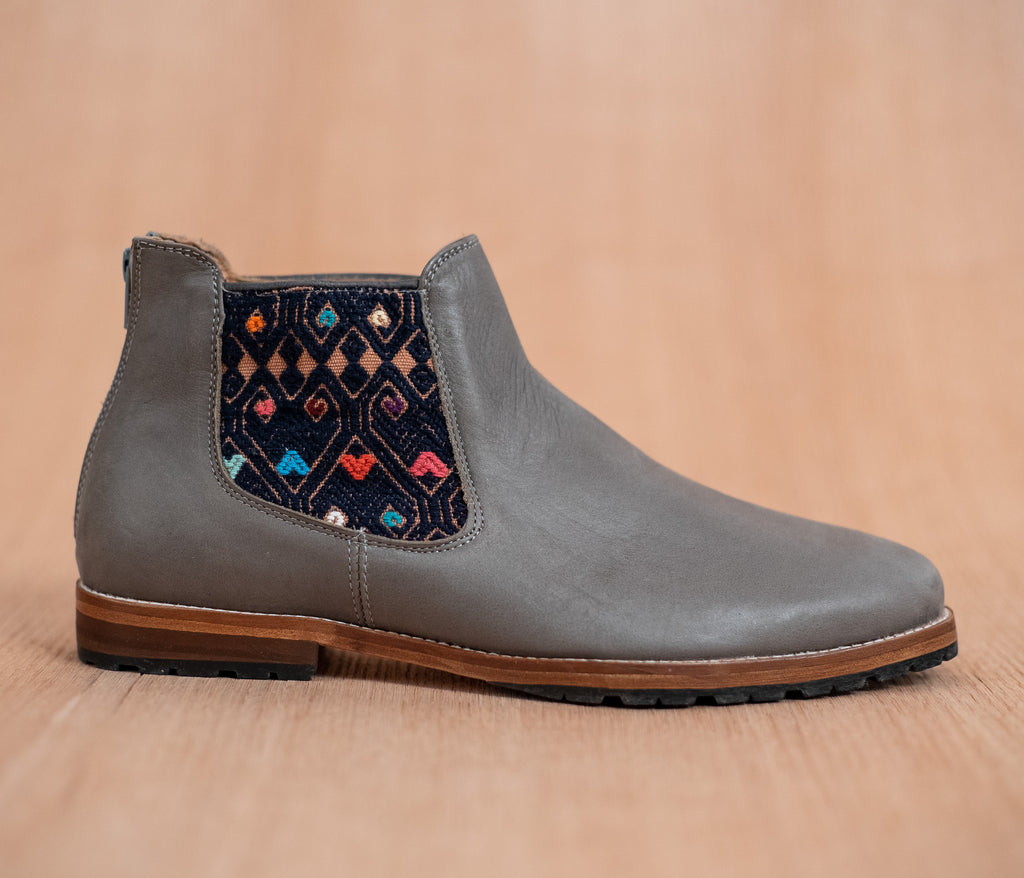 Gray leather man walking machines with Blue and Cream textile - TOCO MADERA - Handcraft shoe from Mexico - Handmade shoe