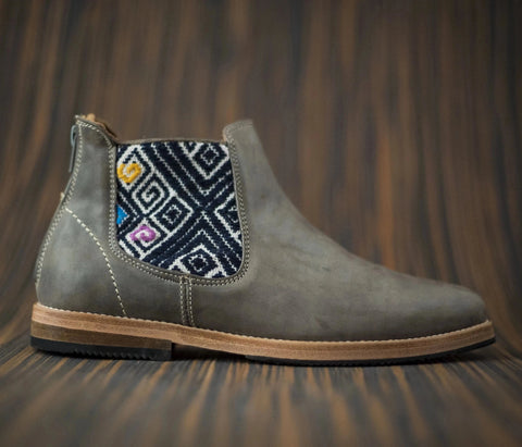 Gray leather men's canija boot with brown and blue textile