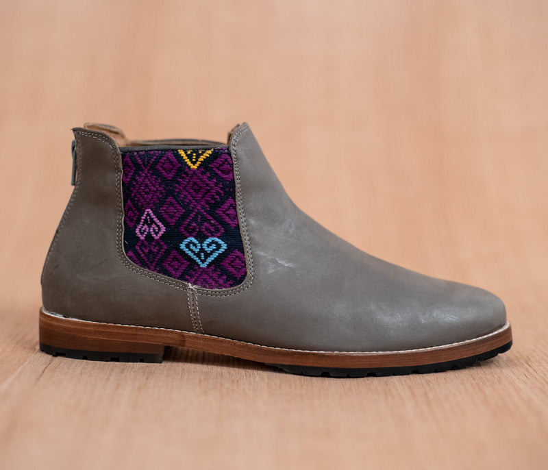 Gray leather man walking machines with Purple and Blue textile - TOCO MADERA - Handcraft shoe from Mexico - Handmade shoe