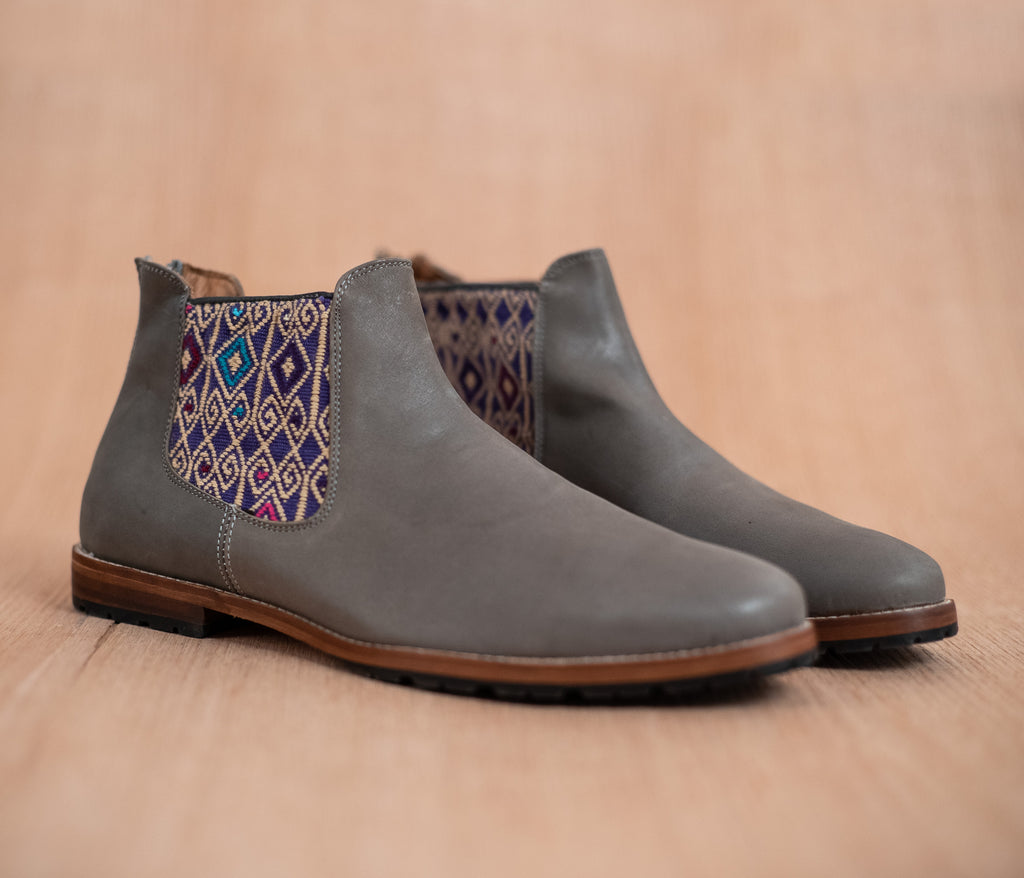 Gray leather man walking machines with Purple and Beige textile - TOCO MADERA - Handcraft shoe from Mexico - Handmade shoe