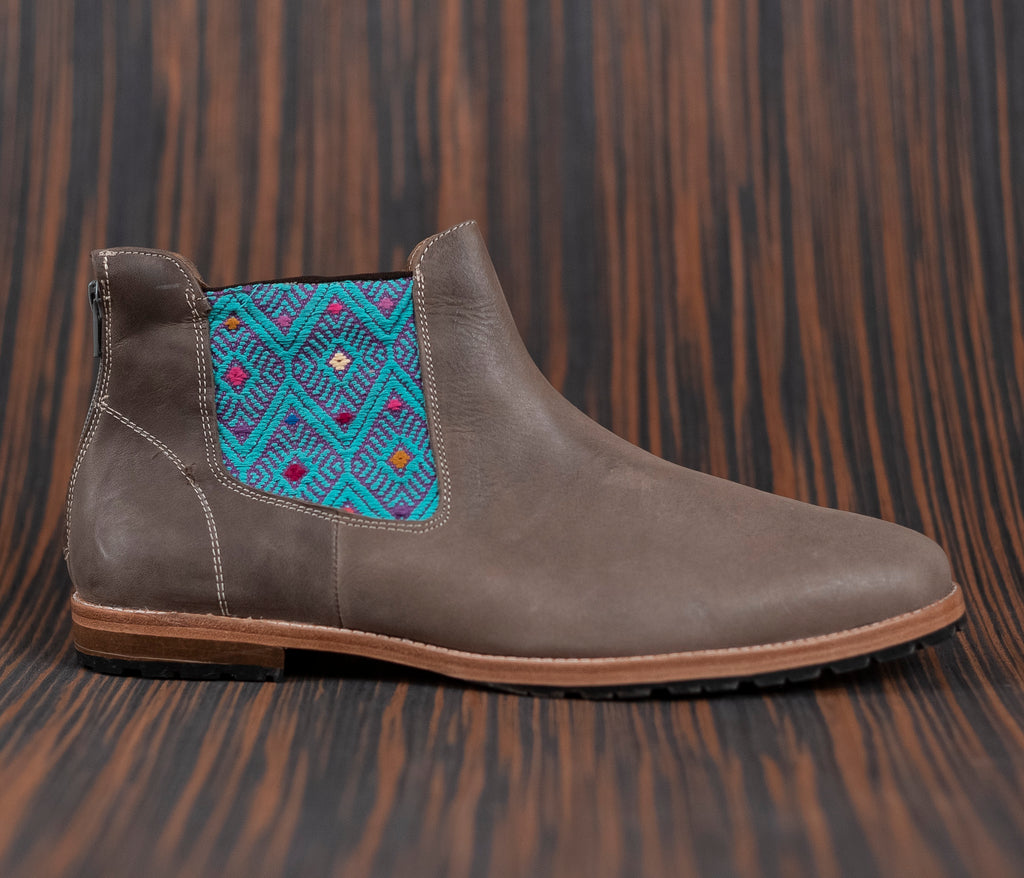 Gray leather man walking machines with Purple and Turquoise textile - TOCO MADERA - Handcraft shoe from Mexico - Handmade shoe