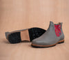 Gray leather man chopping machines with Red and Gray textile - TOCO MADERA - Handcraft shoe from Mexico - Handmade shoe