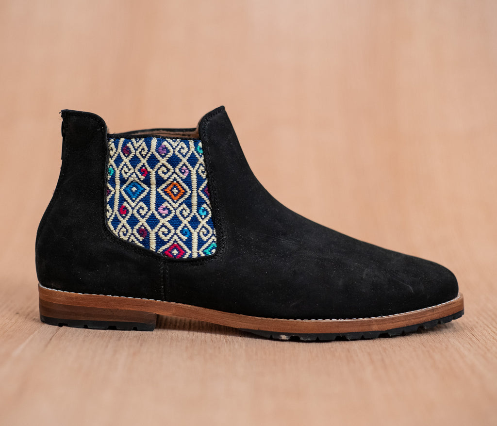 Black leather chopping machines with Blue and White textile - TOCO MADERA - Handcraft shoe from Mexico - Handmade shoe