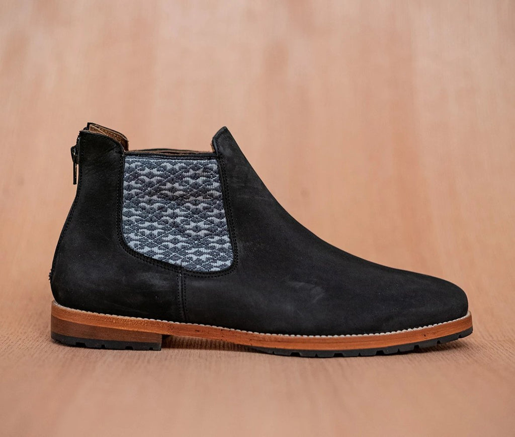 Black leather man thunders with gray and gray textile - TOCO MADERA - Handcraft shoe from Mexico - Handmade shoe