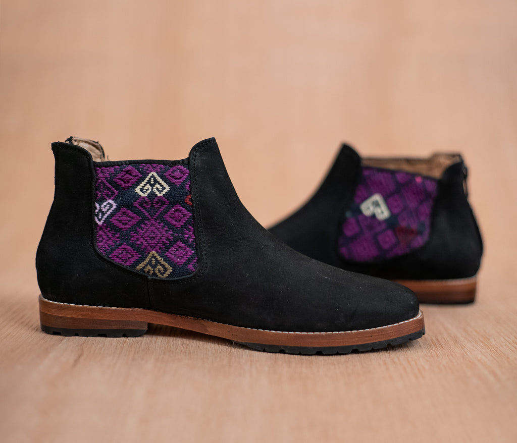 Black leather threshing machines with Black and Purple textile - TOCO MADERA - Handcraft shoe from Mexico - Handmade shoe