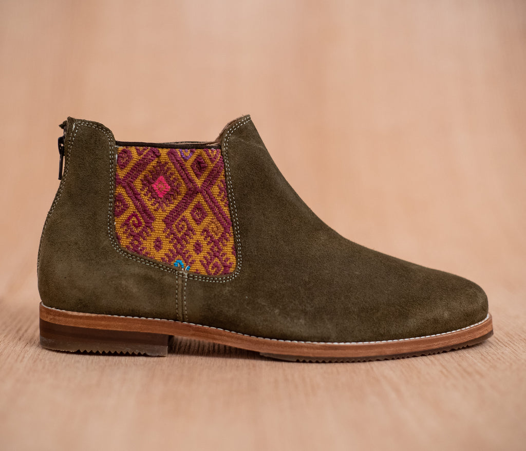 Green leather man walking machines with Yellow and Purple textile - TOCO MADERA - Handcraft shoe from Mexico - Handmade shoe