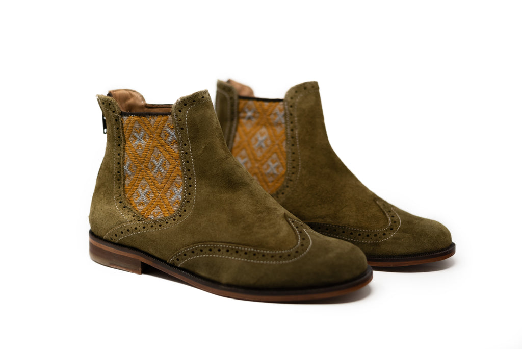 Green leather man walking machines with gray and yellow textile - TOCO MADERA - Handcraft shoe from Mexico - Handmade shoe