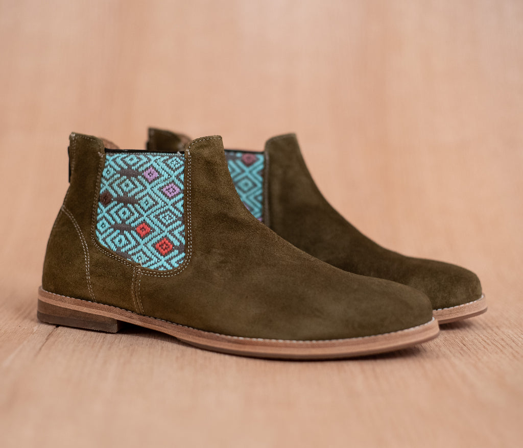 Green leather man chopping machines with gray and turquoise textile - TOCO MADERA - Handcraft shoe from Mexico - Handmade shoe