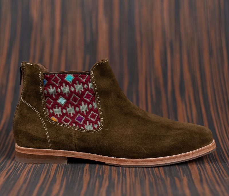 Tronadoras man in green leather with green textile and wine - TOCO MADERA - Handcraft shoe from Mexico - Handmade shoe