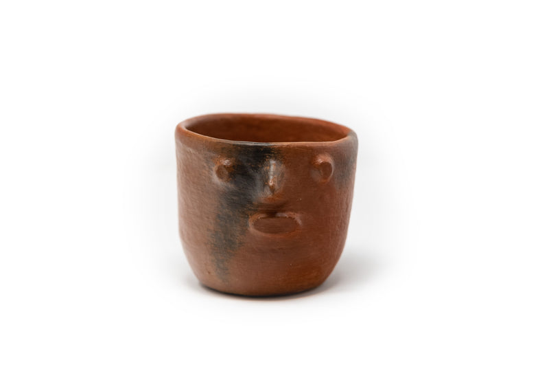 Oaxaca natural clay sugar bowl with face shape - TOCO MADERA - Handcraft shoe from Mexico - Handmade shoe