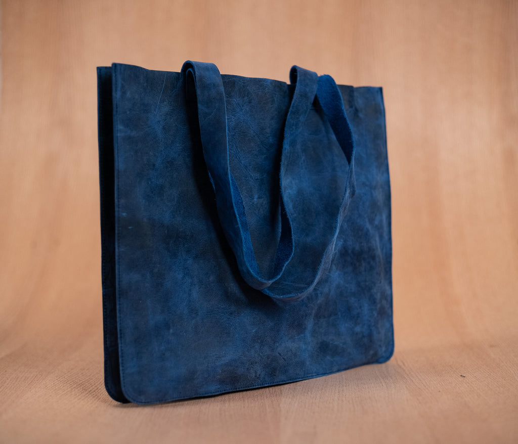 Medium blue leather bag - TOCO MADERA - Handcraft shoe from Mexico - Handmade shoe