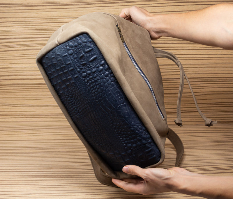 Brown crocodile hand bag with blue 2nd type - TOCO MADERA - Handcraft shoe from Mexico - Handmade shoe
