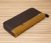 Brown leather wallet with yellow and gray textile - TOCO MADERA - Handcraft shoe from Mexico - Handmade shoe