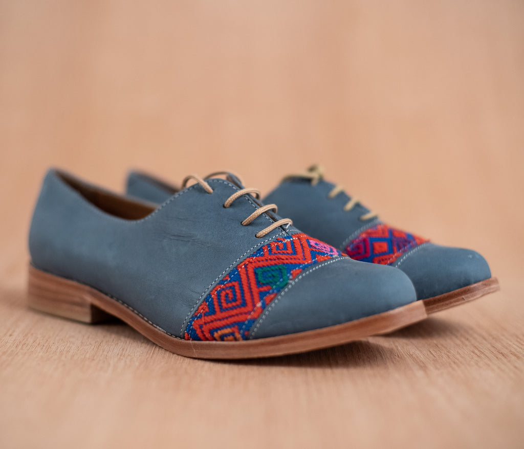 Blue leather trimmed with Blue with Orange textile - TOCO MADERA - Handcraft shoe from Mexico - Handmade shoe