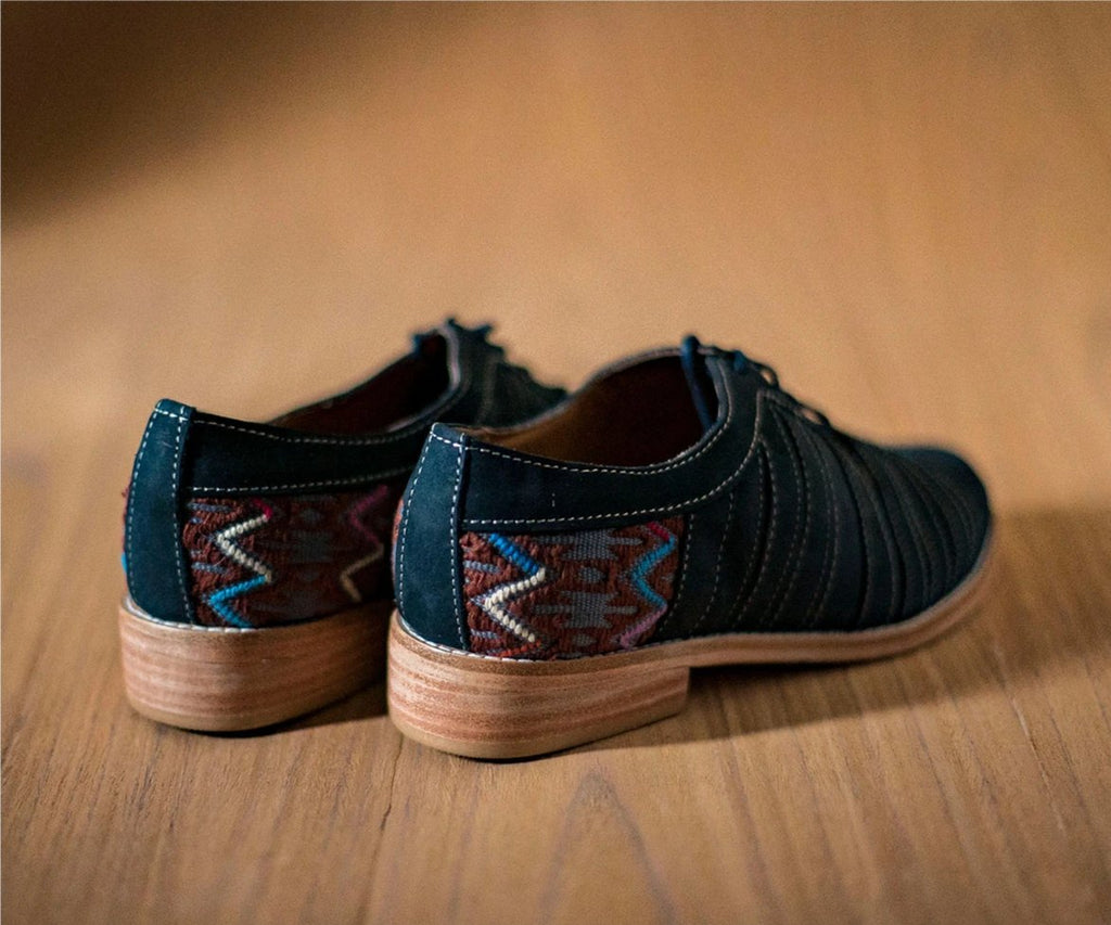 Blue leather chachareros with gray and brown textile - TOCO MADERA - Handcraft shoe from Mexico - Handmade shoe