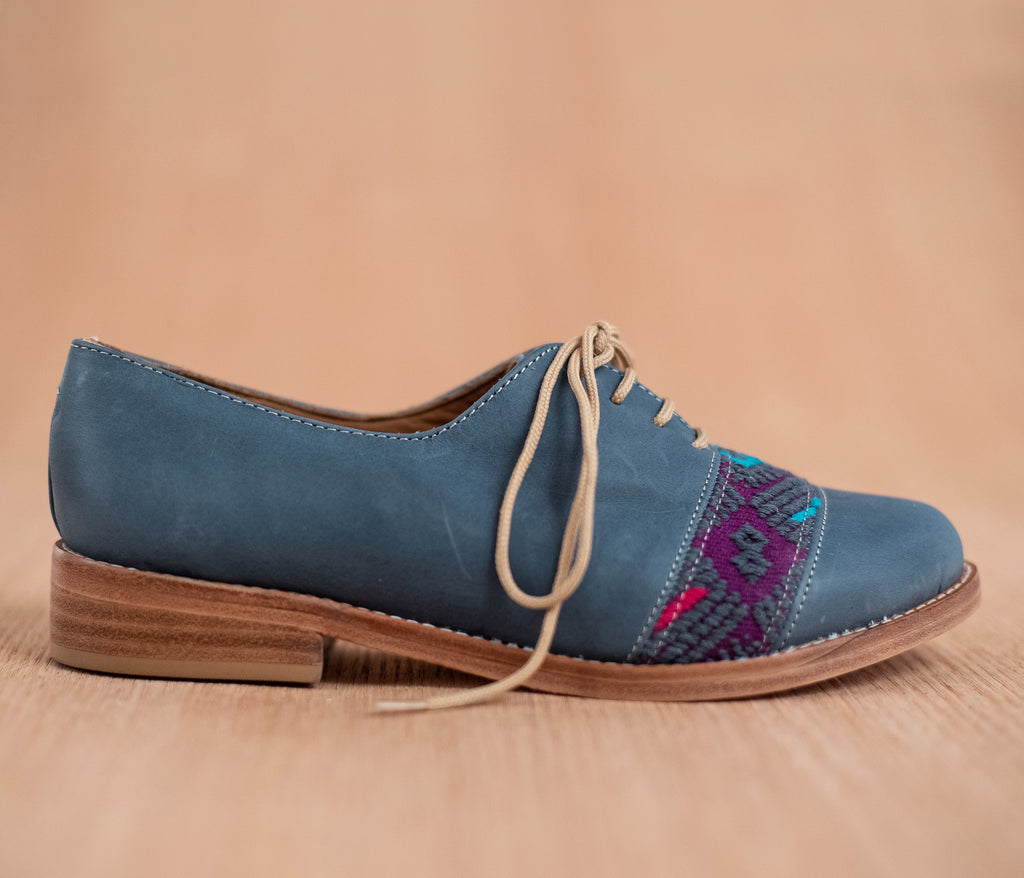Blue leather upholstery with purple and gray textile - TOCO MADERA - Handcraft shoe from Mexico - Handmade shoe