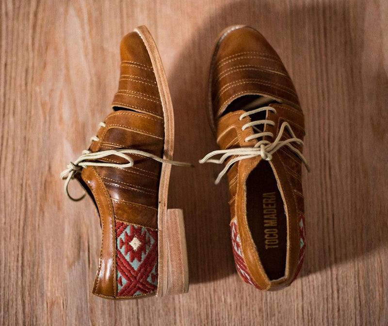 Brown leather chachareros with light blue and brown textile - TOCO MADERA - Handcraft shoe from Mexico - Handmade shoe
