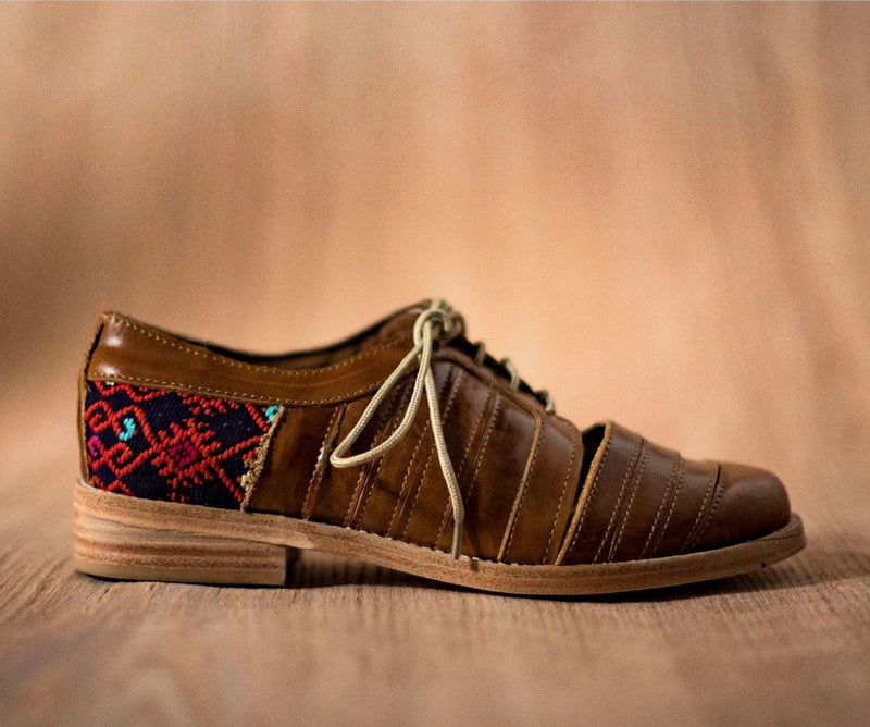 Brown leather chachareros with purple and orange textile - TOCO MADERA - Handcraft shoe from Mexico - Handmade shoe