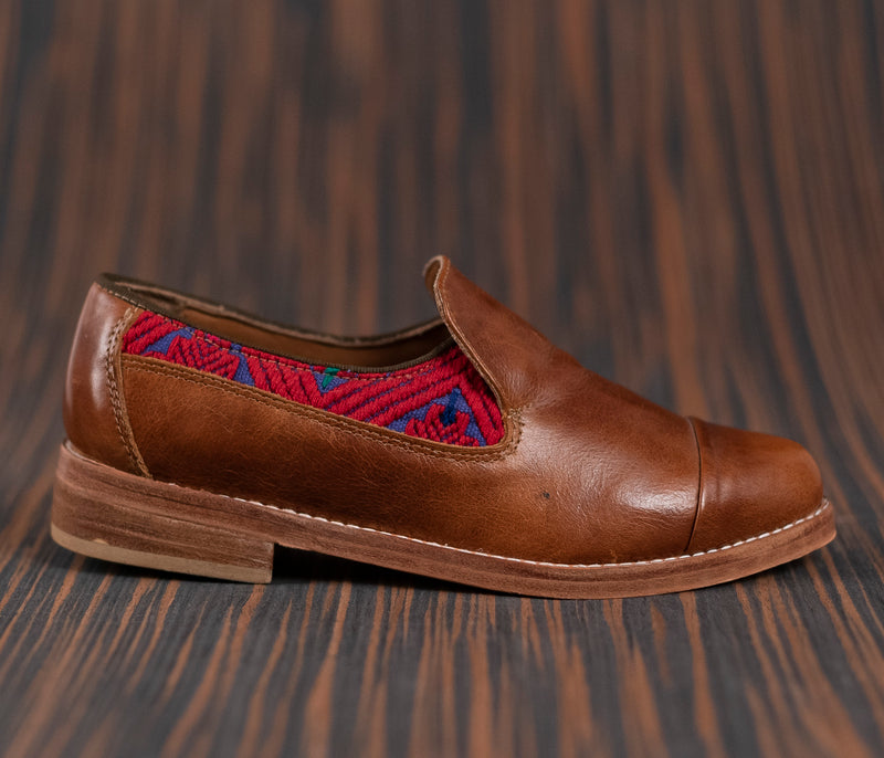 Brown leather finolis with purple and red textile - TOCO MADERA - Handcraft shoe from Mexico - Handmade shoe