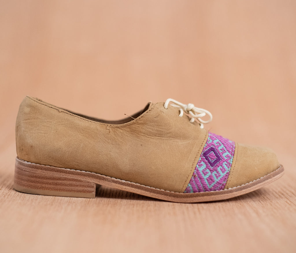 Brown leather upholstery with purple and blue textile - TOCO MADERA - Handcraft shoe from Mexico - Handmade shoe