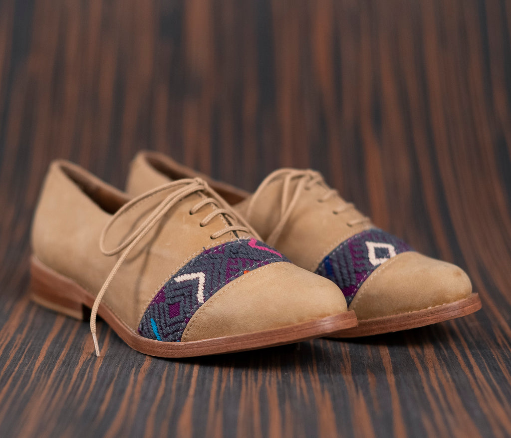 Brown leather inserts with purple and gray textile - TOCO MADERA - Handcraft shoe from Mexico - Handmade shoe