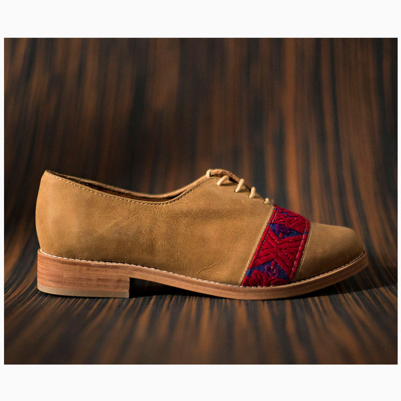 Brown leather inserts with purple and red textile - TOCO MADERA - Handcraft shoe from Mexico - Handmade shoe