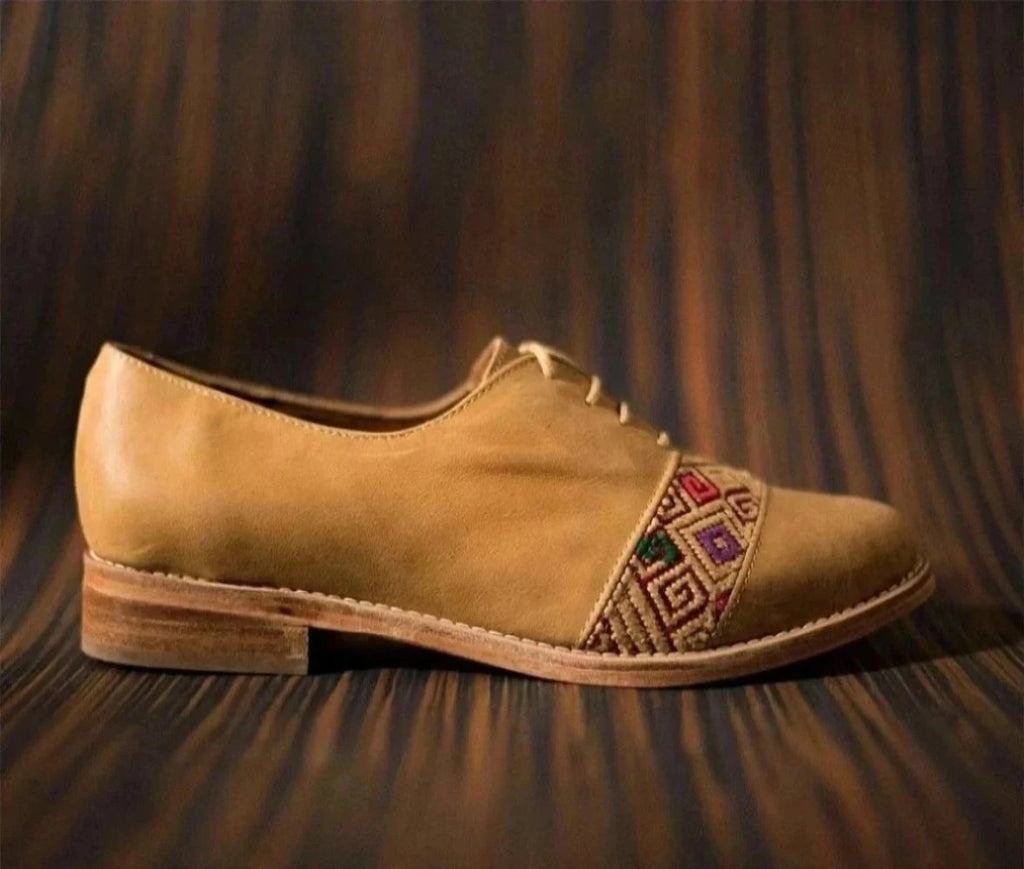 Brown leather inserts with wine and beige textile - TOCO MADERA - Handcraft shoe from Mexico - Handmade shoe